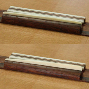 Saddles compared: with twist-plane fingerboard (top) and without (bottom).